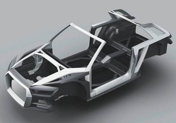 multimaterial space frame - audi crosslane cope PHEV
